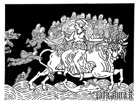 "Alvydas Ambrasas – karikatūra ""Europs pagrobimas"""