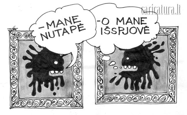 """Alvydas Ambrasas – karikatūra """"Nutapė - išspjovė"""""""