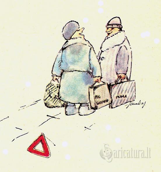 """Arvydas Samukas karikatūra """"Avarinis susitojimas"""""""