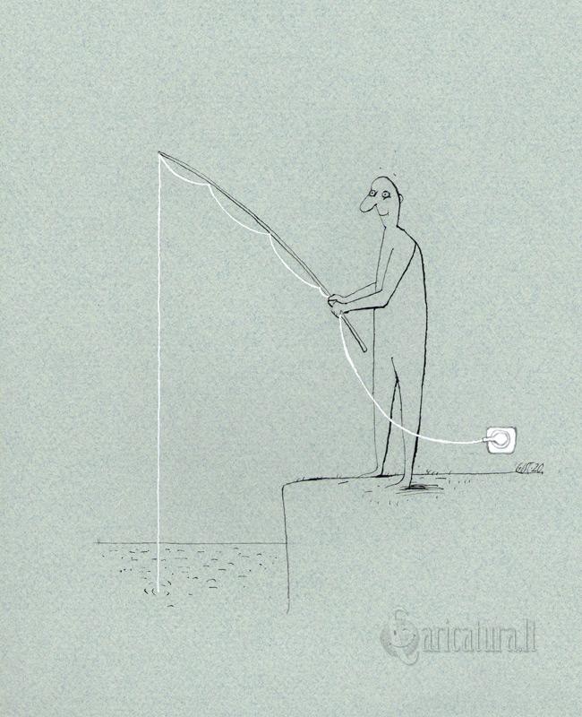 """Gintautas Stankevičius karikatūra """"Žvejas""""."""